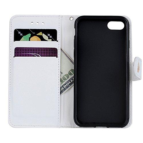 Etui iPhone 7 Plus , Anfire Papillon Motif Peint Mode PU Cuir Étui Coque pour Apple iPhone 7 Plus (5.5 Plus pouces) Housse de Protection Luxe Style Livre Pochette Étui Folio Rabat Magnétique Coque Cou Blanc