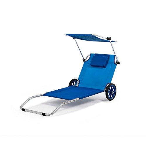 Homekraft Maui Ride Strandliege Sonnenliege Atmungsaktiv Freizeitliege Relaxliege Liegestuhl 3in1 (Blau)