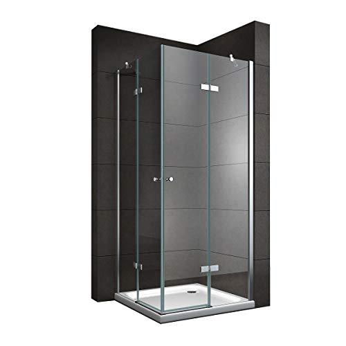 Duschkabine mit Eckeinstieg 90x90 cm 190cm Höhe Klarglas 6mm ESG NANO
