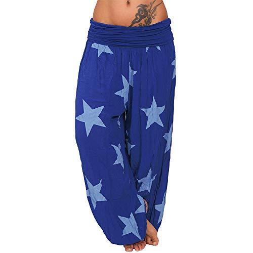 Vertvie Damen Hosen Lang Bedrucken Pumphose Haremshose Sommerhose Yogahose Aladinhose Baggy Harem Stil mit Elastischen Bund(Blau 2, EU 50/Etikettengröße 5XL)