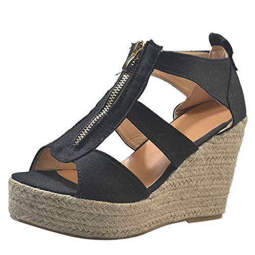 UOWEG Keile Sandalen Für Damen Open Toe atmungsaktive Strand Sandalen Rom lässig einfarbig Keile Schuhe Faux Peep Toe