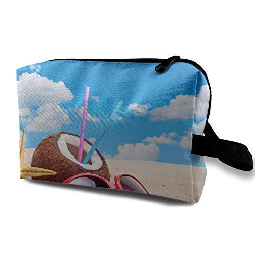 Travel Makeup Cosmetic Bag Brush Pouch Beach Starfish And Coconut Zipper Pen Organizer Carry Case black makeup bag -