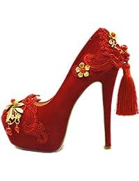 687663fdc5fe43 LINYI Damen Stiletto Heels Bestickt Spitze Rote High Heels Braut  Chinesische Hochzeit Schuhe Partei Große Größe…