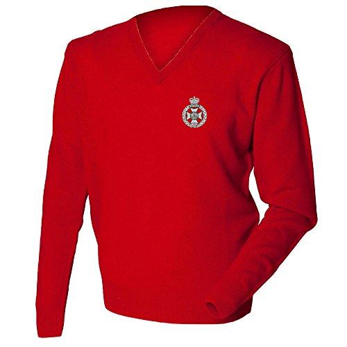 Manschettenknöpfe Royal Green Jackets Lambswool Pullover mit V-Ausschnitt. Gr. XXL, Rot - Rot (Royal Green Jackets)