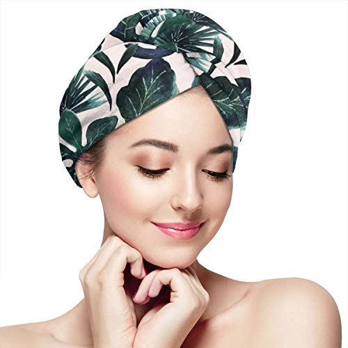 Funny Club (Funny Club Hair Drying Towel Tropical Leaves Blush Wraps for Women Shower Turban Microfiber Quick Magic Drying Wrapped Bath Cap)