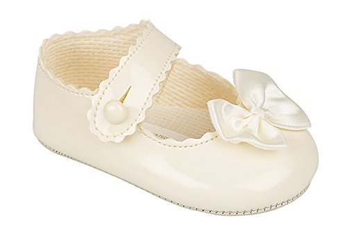 Soho Fashions Luxury British Made High Quality Soft Soft Decorative Special Occasions Christening Baby Girl Shoes (Size 1 (3 To 6 Moths Old), Cream/Ivory)