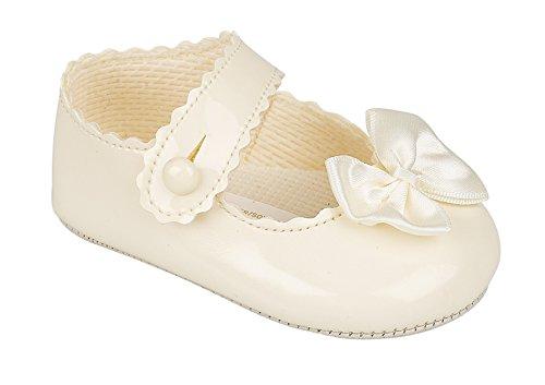 Luxus British Made Hochwertige Weiche Weiche Dekorative Besondere Anlässe Taufe Baby Mädchen Schuhe (19 EU (12-18 Monate), Creme/Elfenbein)
