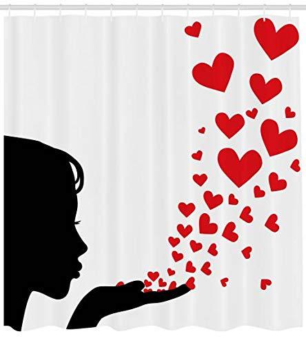 Abakuhaus Kuss Duschvorhang, Hübsche Mädchen Silhouette, Klare Farben aus Stoff inkl.12 Haken Farbfest Schimmel und Wasser Resistent, 175 x 220 cm, Schwarz-weiß-rot