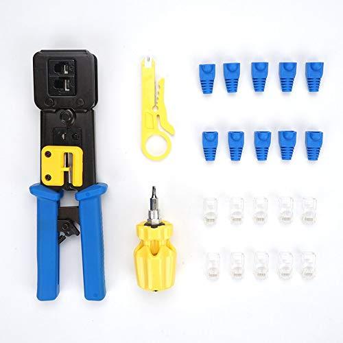 VCB Netzwerkkabel Crimper Zange Stripper Cutter LAN Netzwerk Repair Tool Kit - blau & schwarz (It-netzwerk-tool-kit)