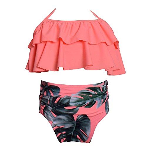 e Mutter und Tochter Hohe Taille Bikini-Sets Familie Passender Kleidung Bademode Strandkleidung Rosa (Kinder Costomes)
