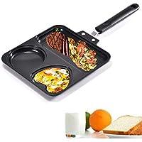MAIFENGLE Sartén 3 Huevos Cacerola Antiadherente sartén portátil Desayuno sartén con Mango, Apto para freír