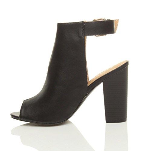 Femmes talons hauts peep toe bout ouvert boucle chaussures sandales bottines pointure Noir