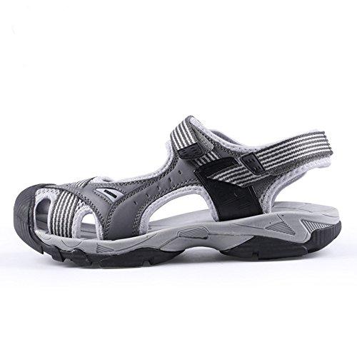 Trekking Wander Geschlossene Sandalen mit Klettverschluss Outdoor Athletic Rutschfest Strand Schuhe Herren Damen Grau