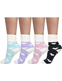 Pairs Fuzzy Fluffy Socks CoralFleece Slipper Socks Soft Cozy House Socks for Women Girls, 4 Colors
