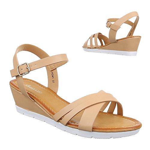 Damen Schuhe, H241-1, SANDALETTEN KEIL WEDGES PUMPS Beige