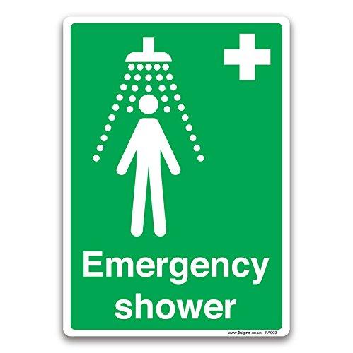 Britischen Standard Erste Hilfe Schild Sicherheit Aufkleber–Not Dusche–von Lichtschalter CO, weiß, 210 x 297 mm