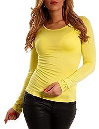 d8aab722a97ac6 YC Fashion & Style Damen Langarm Shirt Longsleeve Basic Shirt T-Shirt  Underwear