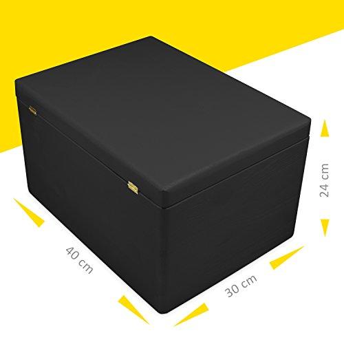 Caja de madera con tapa para almacenamiento - pino pintado negro - aproximadamente 40 x 30 x 24 cm XXL - certificado FSC - Grinscard