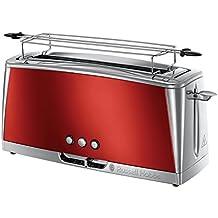 Russell Hobbs 23250-56 Luna Solar Red Langschlitz Toaster, 6 einstellbare Bräunungsstufen, extra breiter Toastschlitz, 1420 W, Rot