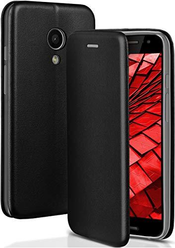 ONEFLOW Motorola Moto G2 | Hülle Schwarz mit Karten-Fach 360° Business Klapp-Hülle Handytasche Kunst-Leder Handyhülle für Motorola Moto G 2. Generation Flip Case Cover Tasche Schutzhülle