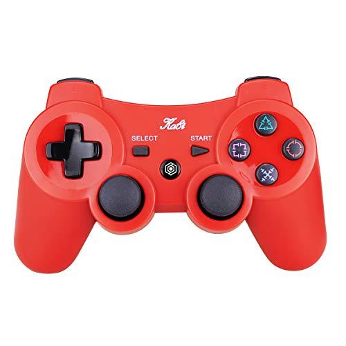 Kabi Bluetooth Wireless Controller für PS3 Controller Doppelschlag Gamepad 6-achsen Game Controller für Playstation 3 Bonus Freies Ladekabel Rot