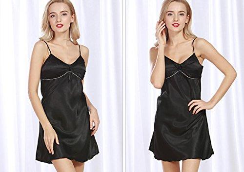 LJ&L Il nuovo colore solido sezione estiva di seta camicia da notte sottile signora gonna pigiama / bagno,Shallow purple,M Black