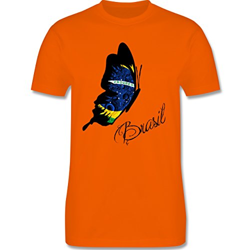 Länder - Brasil Schmetterling - Herren Premium T-Shirt Orange