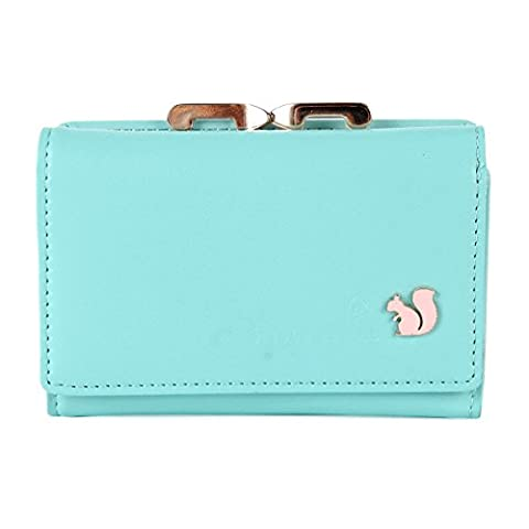 Damara Womens Fashion Dainty Kiss Lock Coin Purse,Light Blue