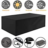 Tvird Garden Furniture Cover, Outdoor Furniture Covers, Heavy Duty 420D Oxford Fabric Patio Furniture Covers WaterproofRectangularWindproof and Anti-UV Garden Table Covers 242 x 162 x 100 cm(Black)