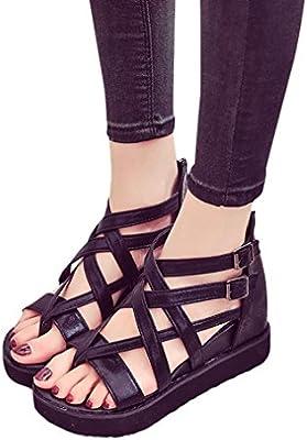 Webla Mujeres Sandalias de verano Zapatos Peep-dedo del pie bajo zapatos Roman Sandalias de tiras sandalias