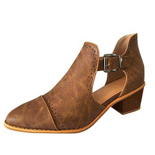 Mymyguoe Stiefeletten Damen Chelsea Boots Ankle Leder Blockabsatz Kurzschaft Stiefel Absatz Schuhe Winter Elegant Kurze Stiefel Mode Blockabsatz ()