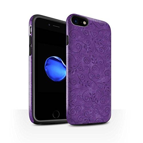 STUFF4 Glanz Harten Stoßfest Hülle / Case für Apple iPhone 8 / Gelb Muster / Blatt-Strudel-Muster Kollektion Lila