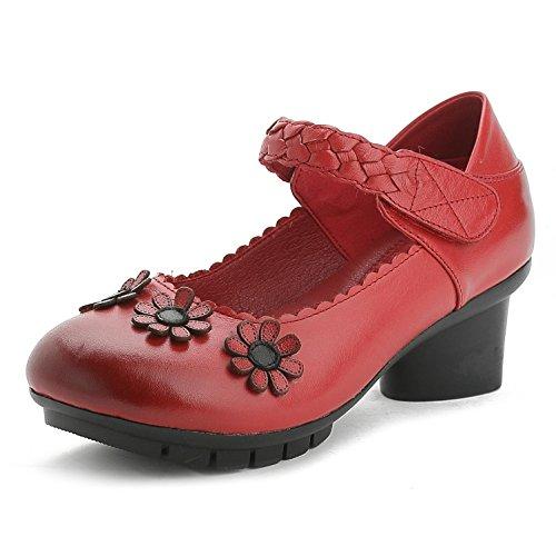 L@YC® Damen Sandalen Mit Dicken Runden Leder Casual Schuhe Flachen Und Bequemen Bequemen Satin Brautkleider Red