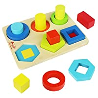 Wooden Shape Sorter Board Wooden Sorting Stacking Toys Colourful Geometric Blocks Puzzle Toys for Kids Children