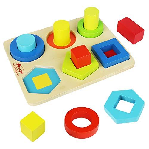 Symiu Steckpuzzle Holz Steckspiel Holz Steckwürfel Holzpuzzle Sortierspiel Holzspielzeug Geschenk für Kinder Junge Mädchen