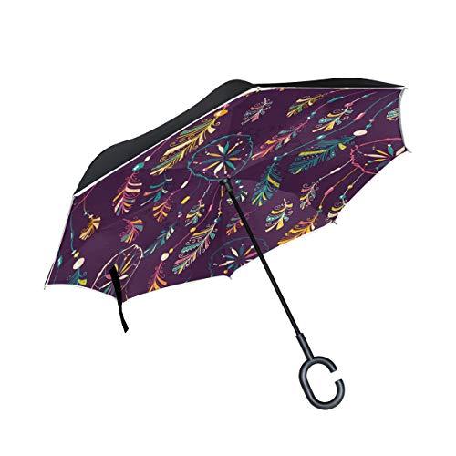 ALINLO Paraguas invertido Etnico atrapasueños, Doble Capa reversa Paraguas Impermeable para Coche Lluvia al Aire Libre con Mango en Forma de C