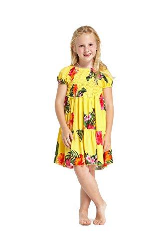 a3d767dfb Niña hawaiano Juego de vestidos y pantalones a juego en Amarillo Floral  Tamaño 8