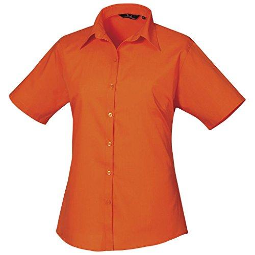 Femmes Chemisier en popeline à manches courtes chemise pour femme Coloris uni Orange - Orange