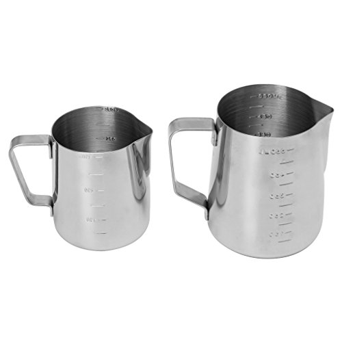 Lamdoo Edelstahl Kaffee Aufschäumen Milch Latte Krug Fancy Foam Cup Pitcher 350 / 550ml -