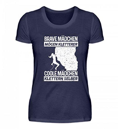 shirt-o-magic Coole Mädchen Klettern selber - Geschenk Kletterer Berg-Wand Bouldern Climber - Damenshirt