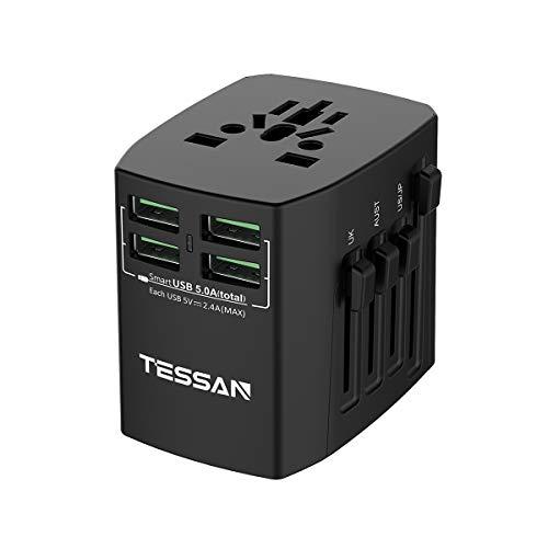 TESSAN Universal Reiseadapter Reisestecker mit 4 USB-Ports Internationaler Steckdosenadapter 25W/5A Weltweit Stromadapter für 150 Ländern USA/China/Italien/Europa/England/Japan/Thailand und mehr