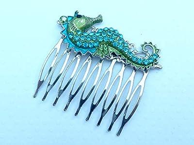 Peigne à cheveux avec des hippocampes en argent vert turquoise