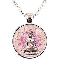 Colgante para collar, con dibujo de Buda, de cristal y plata