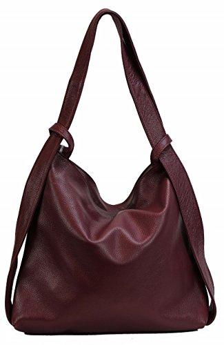 BZNA Bag Mia weinrot Backpacker Designer Rucksack Ledertasche Damenhandtasche Schultertasche...