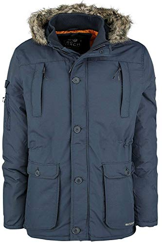 1bf8f4ab4ae New Crosshatch Mens Heavy Weight Fur Hood Jacket Parka Padded Waterproof  Winter Quilted Coat[Total Eclipse,L]