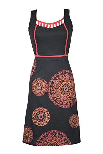 Ultra feminines Damen Kleid/Freizeitkleid mit wunderschönem Ethno Mandala Muster und einzigartigem V-Ausschnitt - Casual Chic - AVA (L/XL) (Kleid Ava-ausschnitt)