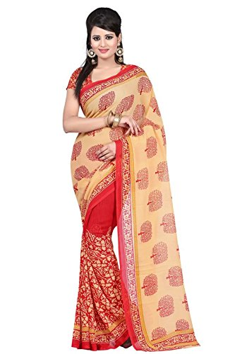 Vipul Women's Beige & Red Casual Wear Georgette Saree (Best Gift For Mummy Mom Wife Girl Friend, Exclusive Offers and On Sale Discount)  available at amazon for Rs.297