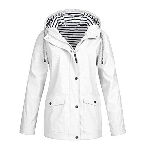KEERADS Damen Wintermantel Lang Elegant Warm mit Pelzkragen Zweireiher Winterjacke Mantel Jacke (M,Weiß) - Damen Microfleece-jacke Mit Durchgehendem Reißverschluss