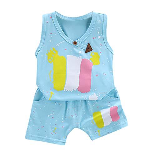 wuayi  Baby Jungen Mädchen Outfit, Baby ärmellose Farbe Malerei Print Weste T-Shirt + Shorts Sommerkleidung Kinderkleidung 6 Monate - 4 Jahre (Malerei Outfit)