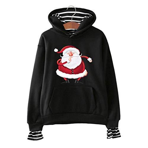 DOLDOA sweatshirt pullover damen,Gestreiftes, gefälschtes, zweiteiliges Kapuzenpullover mit Weihnachtsmotiv für Frauen